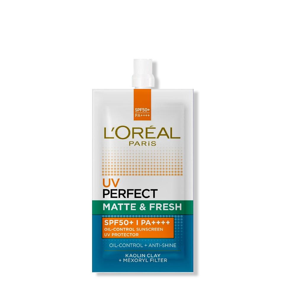Kem chống nắng bảo vệ, kiềm dầu và thoáng mịn L'Oreal Paris UV Perfect SPF50+ PA++++ dạng gói nắp vặn 7ml