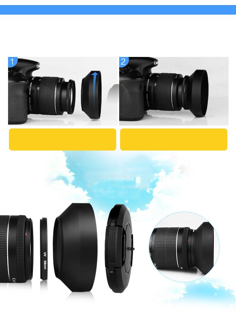 Lens hood loa che nắng Nhôm 52mm góc rộng wide angle