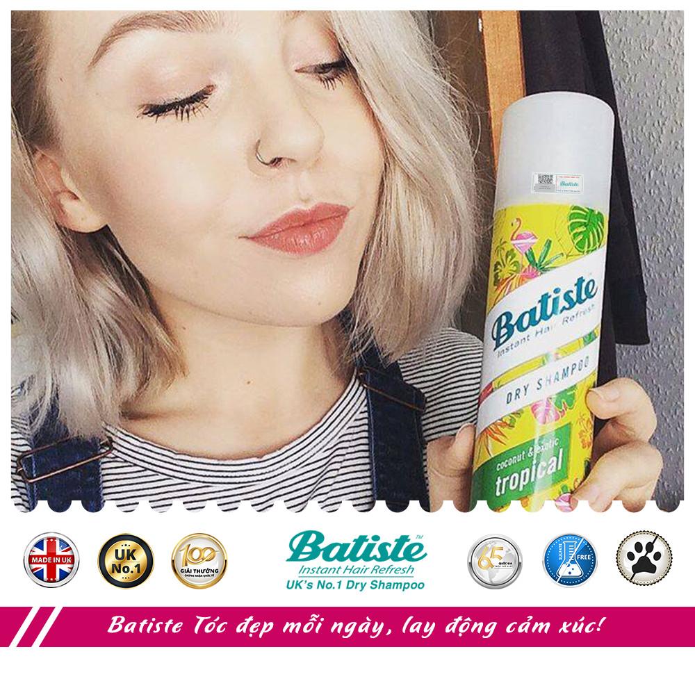 Dầu Gội Khô Batiste Hương Hoa Nhiệt Đới - Batiste Dry Shampoo Coconut & Exotic Tropical 200ml