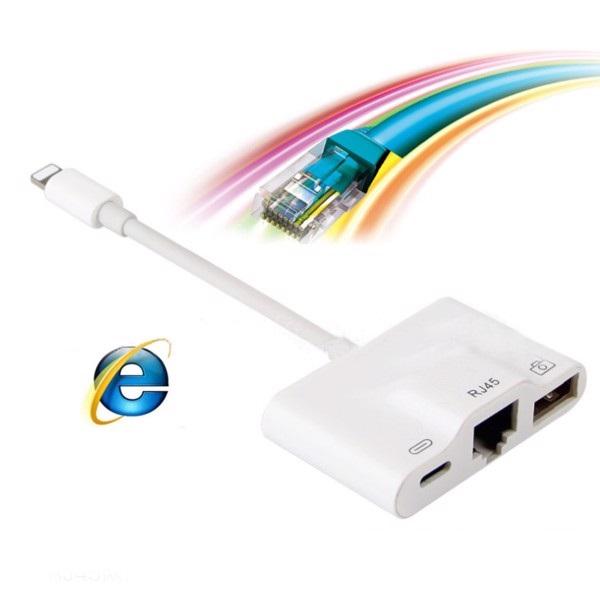 Adapter Lightning Ethernet cổng Lan RJ45 và Hub USB (kết nối bàn phím rời và OTG ) cho iPhone/ iPad - Hàng Chính Hãng