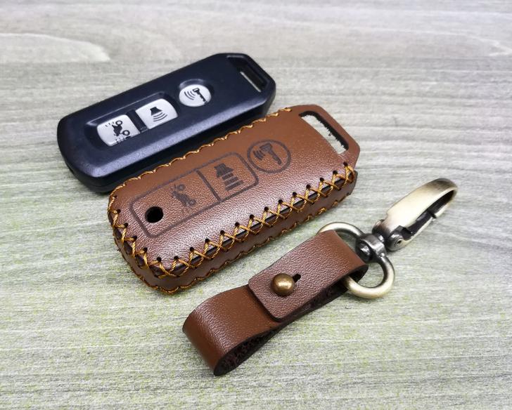 Bao da chìa khóa Honda Smartkey xe SH, lead, sh mode - Nâu