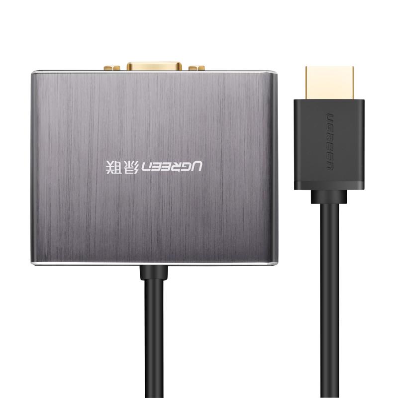 Cáp chuyển đổi HDMI sang VGA tích hợp cổng quang Optical Analog SPDIF 5.1 và Audio 3.5mm dài 0.5m UGREEN 40282 - Hàng Chính Hãng