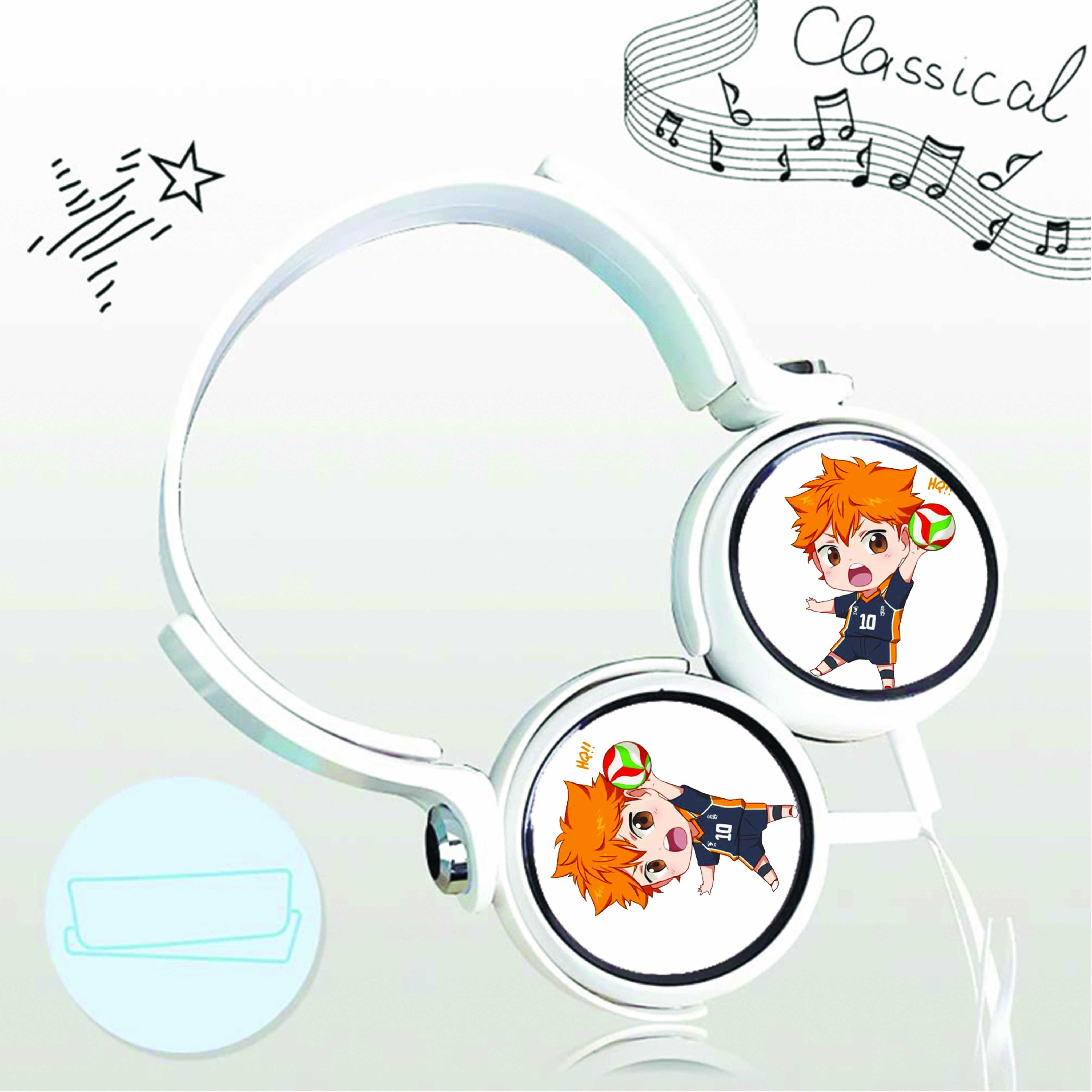 Tai nghe chụp in hình Haikyuu!! Vua Bóng Chuyền anime chibi cắm dây có mic
