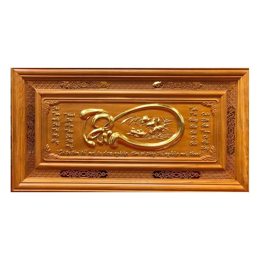 tranh gỗ chữ Tâm - Gỗ Gõ Đỏ nguyên khối, đục chạm thủ công tỉ mỉ sắc nét