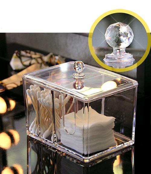 Hộp mica trong suốt 2 ngăn-Hộp đựng đồ trang điểm, bông tấy trang, tăm bông...có nắp đậy,sang trọng,14.5 x 10.5 x 13 cm+ Tặng kèm hình dán ngẫu nhiên