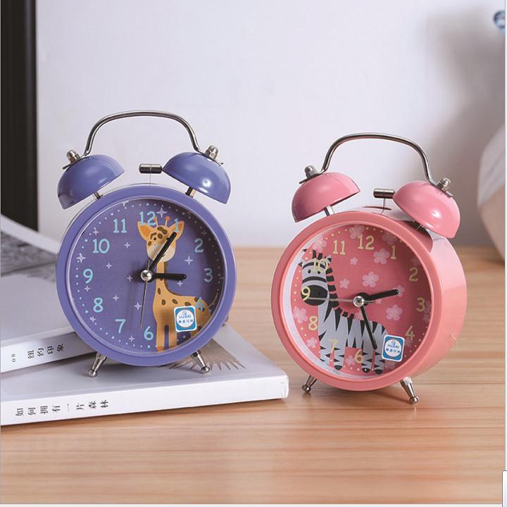 Đồng hồ báo thức CHUÔNG ĐÔI TO, kim loại phong cách cổ điển sang trọng, có in hình