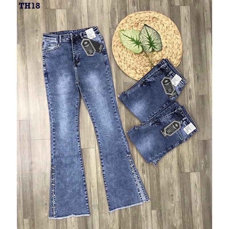 Quần Jeans Nữ Ống Loe Xẻ Kết Hạt Thời Trang