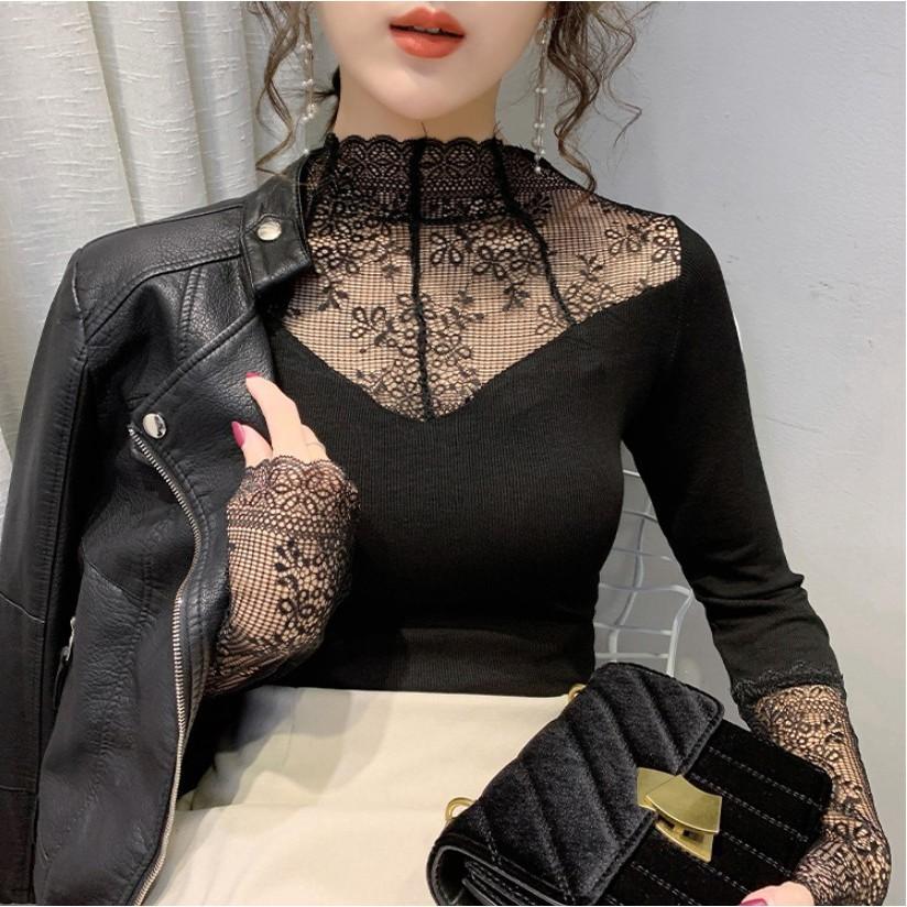 Áo giữ nhiệt nữ cổ ren lót lông siêu ấm, nhiều màu, kiểu dáng lịch sự thời trang