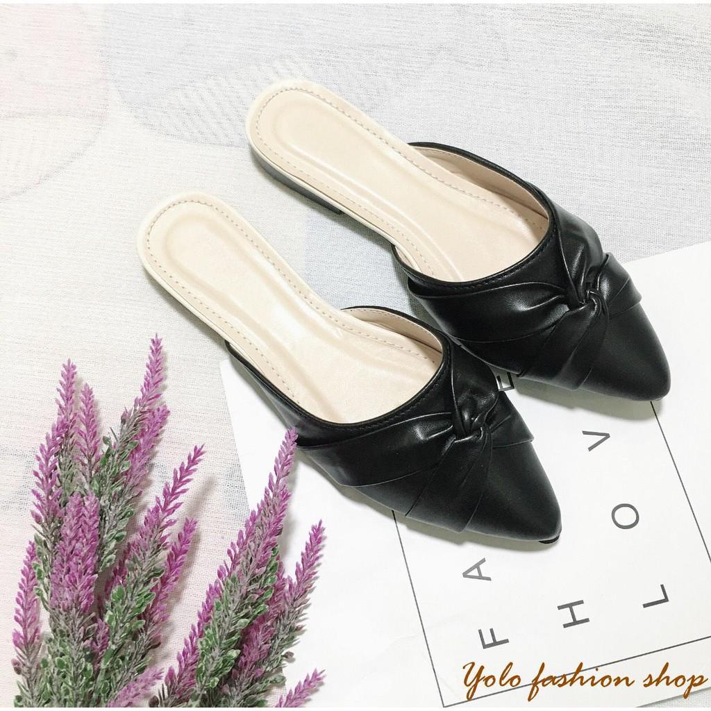 Hình thật-SU6-Giày sục nữ quai xoắn da mềm êm chân