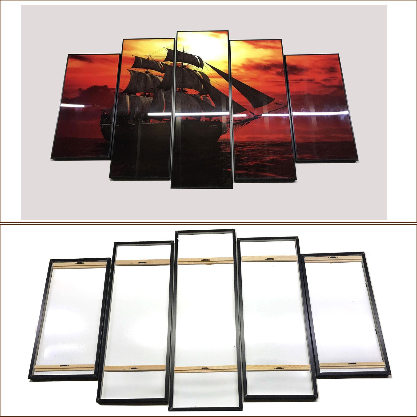 Tranh kính treo tường 3D-Cảnh biển lúc hoàng hôn - GE09- kính cường lực 5mm, khung viền composite, công nghệ in UV 3 lớp, bền màu trên 20 năm.