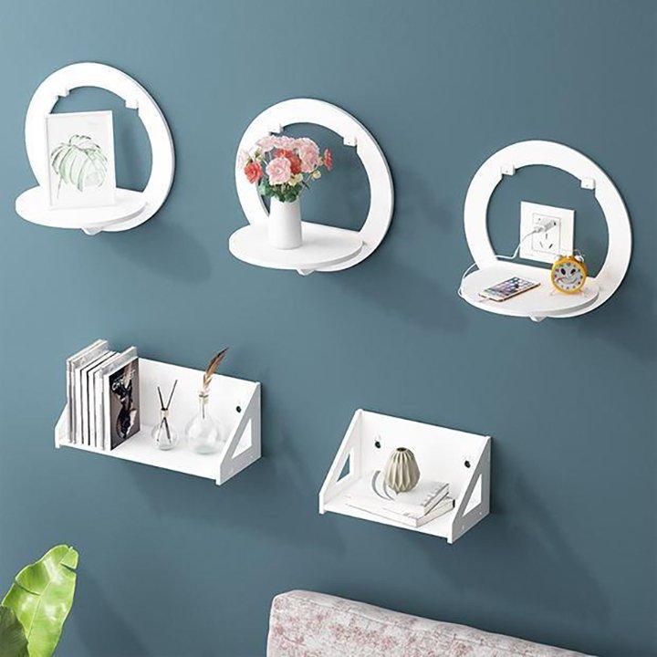 Kệ dán tường hình tròn decor nhà cửa treo ở phòng khách, phòng tắm, phòng ngủ…để đựng đồ trang trí (1 set 2 bộ)