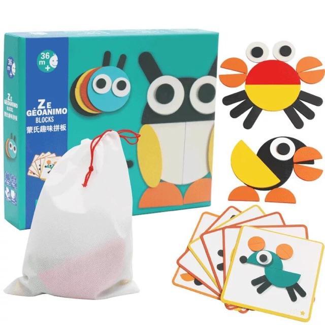 Đồ chơi gỗ Ghép hình tư duy theo thẻ Montessori