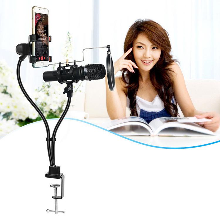 Chân đế kẹp bàn cho điện thoại và micro KH-24 (Tặng kèm 1 màng lọc âm mini)-Hàng chính hãng
