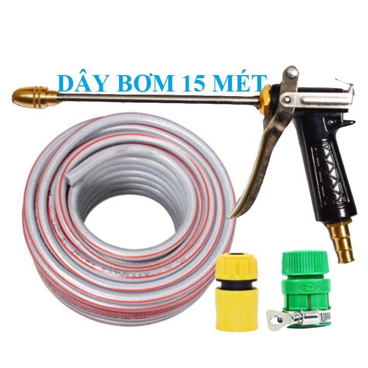 Bộ dây vòi xịt nước rửa xe, tưới cây . tăng áp 3 lần, loại 15m 206701-2 đầu đồngcút+ tặng mở chai