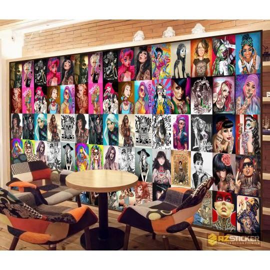 Set 50 Decal Dán Tường Girl Tatoo  Tranh Dán Tường Cao Cấp Không Bay Màu Trang Trí Phòng , Quán , Nhà Hàng