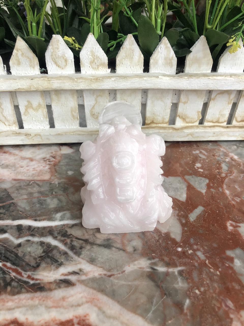 Tượng Cóc Ba Chân, Cóc Ngậm Tiền, Thiềm Thừ phong thủy chiêu tài lộc đá thạch anh hồng - Dài 7 cm