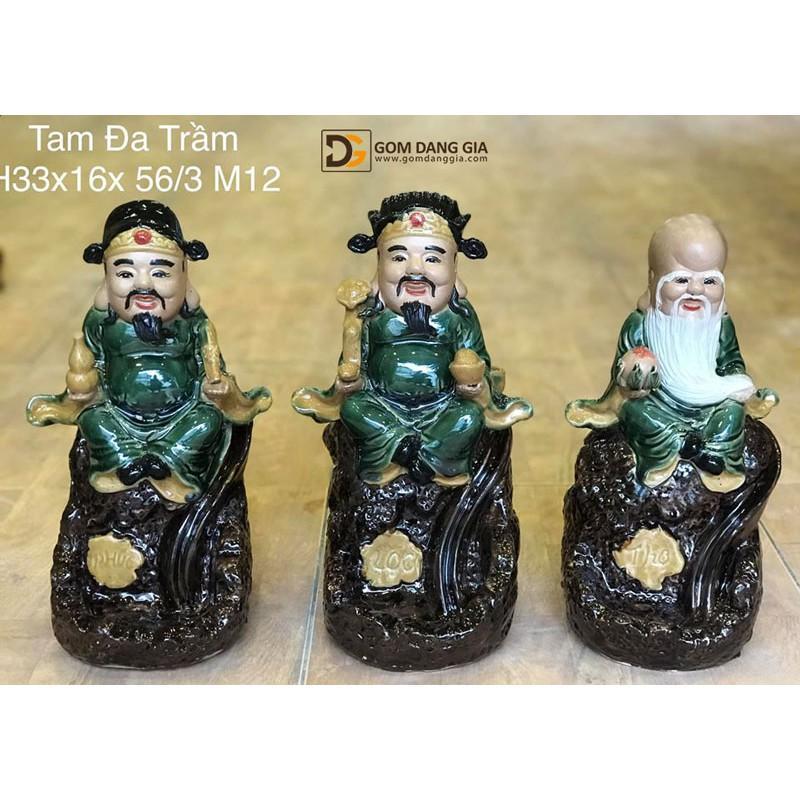 Bộ đốt trầm tượng Tam đa Bát Tràng Phúc Lộc Thọ