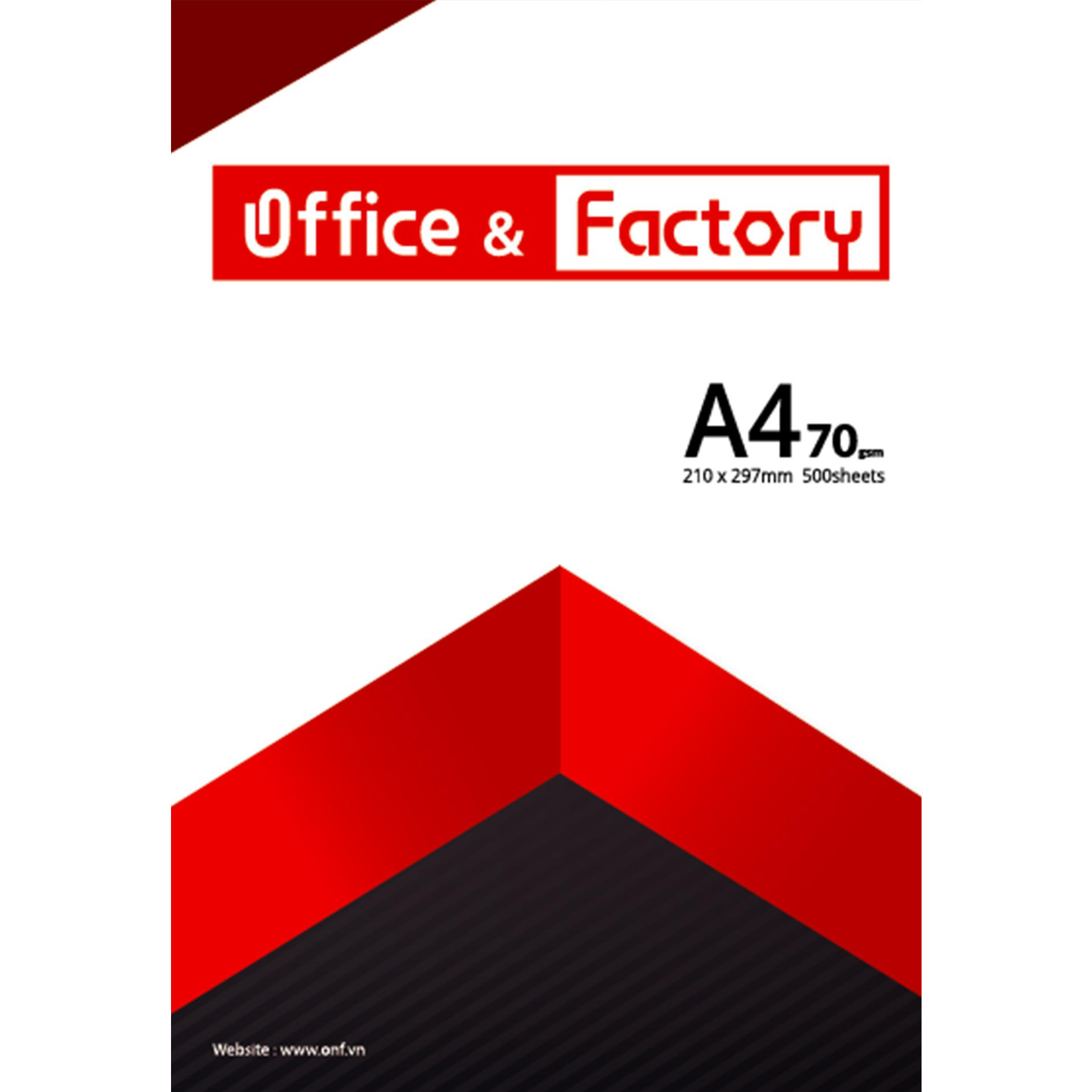 Combo 5 Ram Giấy In cao cấp A4-70gsm O&F  (Office & Factory) 2500 tờ