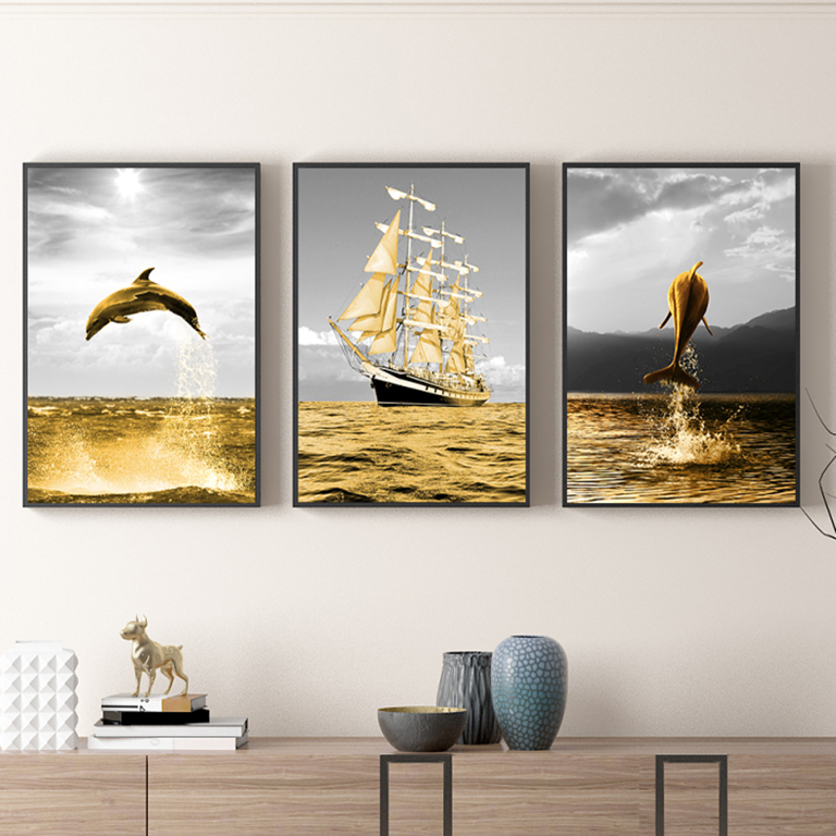 Tranh canvas – Bộ tranh cá heo và thuyền buồm CC66