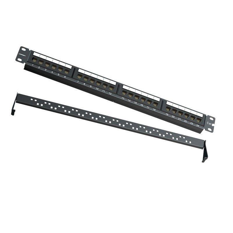 Bộ chia cáp Cat6 UTP Patch Panel rack Ugreen 127PP70423NW 24 cổng màu đen hàng chính hãng
