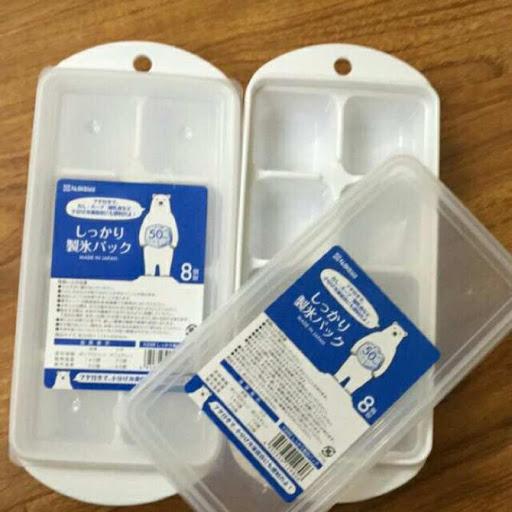 Khay làm đá / chia ngăn trữ thức ăn dặm cho bé có nắp tiện lợi 8 ngăn *50ml, kích thước: 248 x 114 x 45 Hmm ( Tặng 01 khuôn tạo hình ngẫu nhiên )