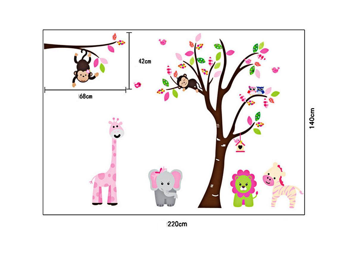 Decal dán tường cho bé vườn thú hồng 2 mảnh ngộ nghĩnh ay216