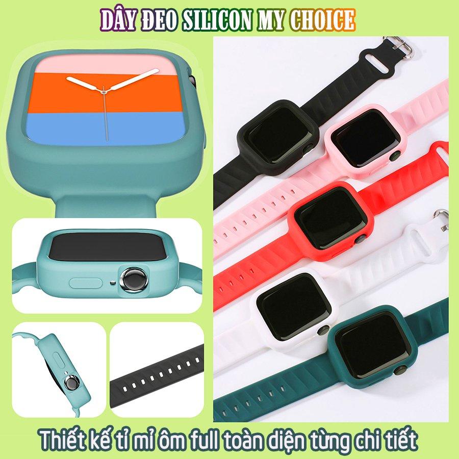 Dây Đeo liền ốp dành cho Apple Watch size 38/40/42/44mm silicon my choice_Trắng (tặng dán KCL theo size)