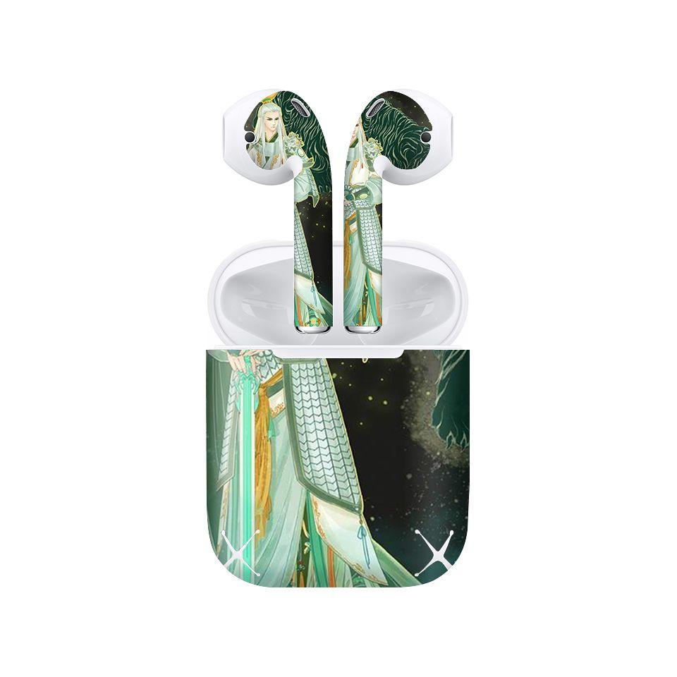 Miếng dán skin chống bẩn cho tai nghe AirPods in hình Bạch Hổ Tộc Thần - acp029 (bản không dây 1 và 2)