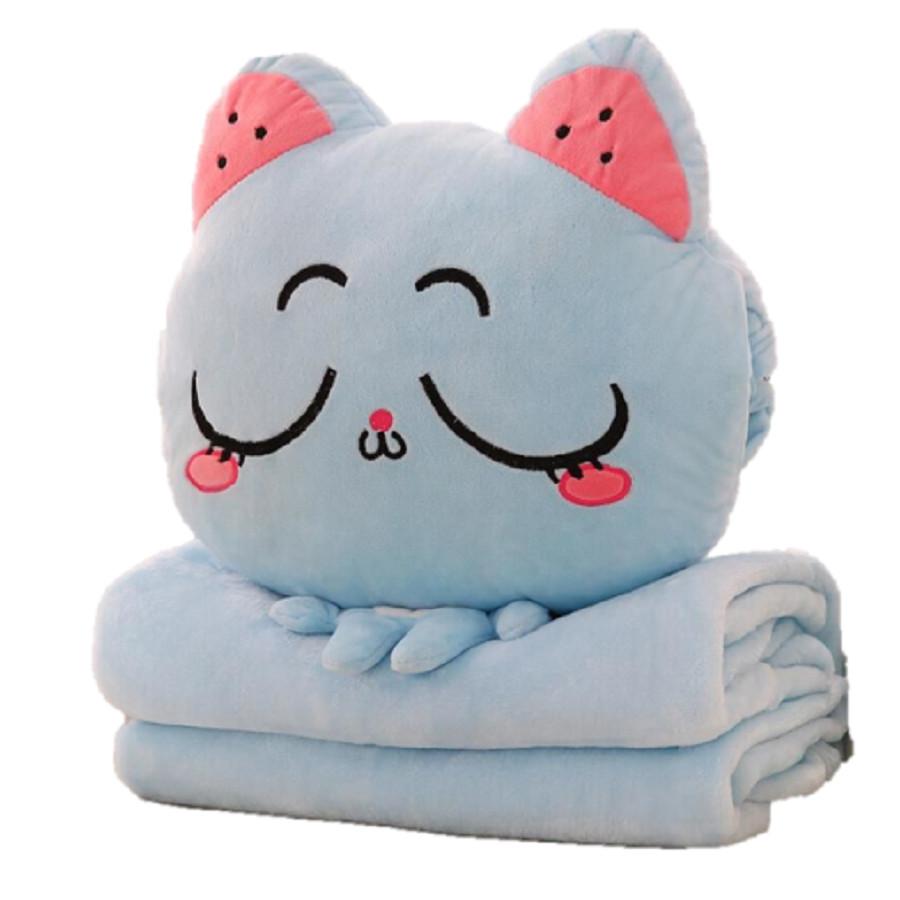 Bộ chăn gối 3 trong 1 chú mèo ngại ngùng (Xanh dương)