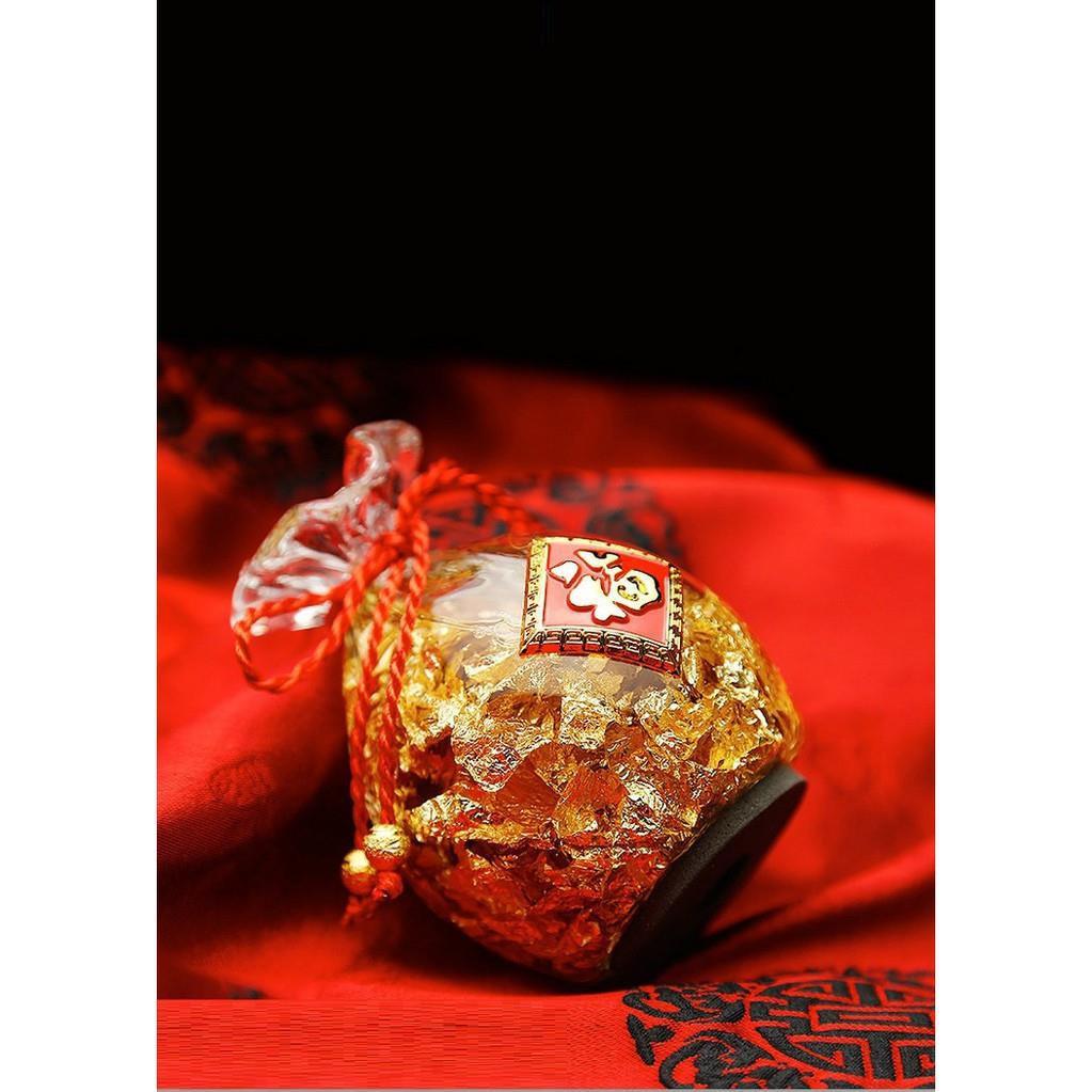 Túi vàng lá Thần Tài phong thủy sung túc tài lộc trang trí