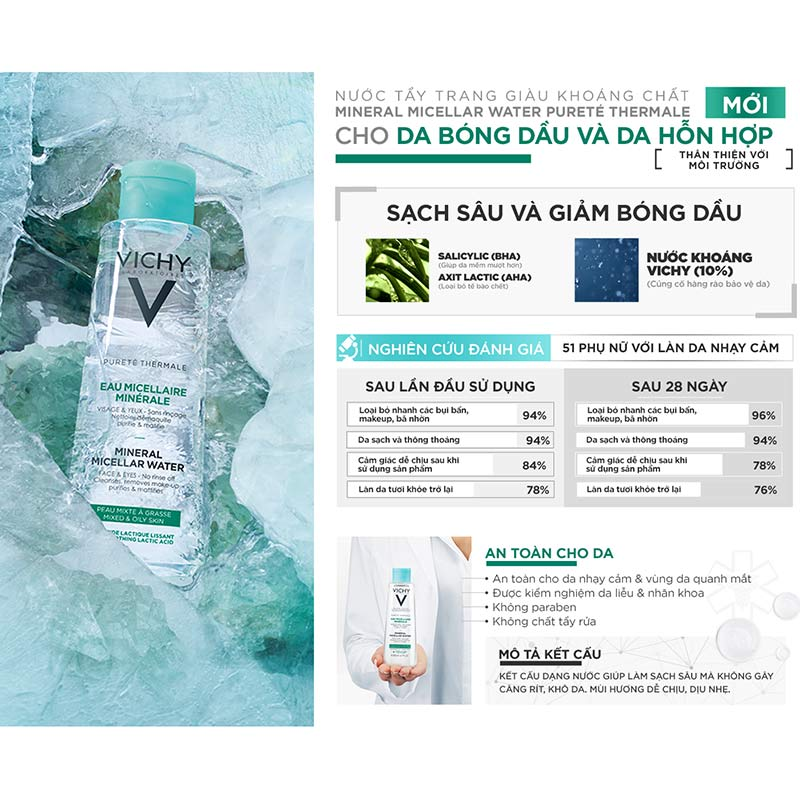 Nước Tẩy Trang Vichy Mineral Micellar Water Pureté Thermale Cho Da Hỗn Hợp  Và Da Bóng Dầu 200ml - Nước tẩy trang | MuaDoTot.com