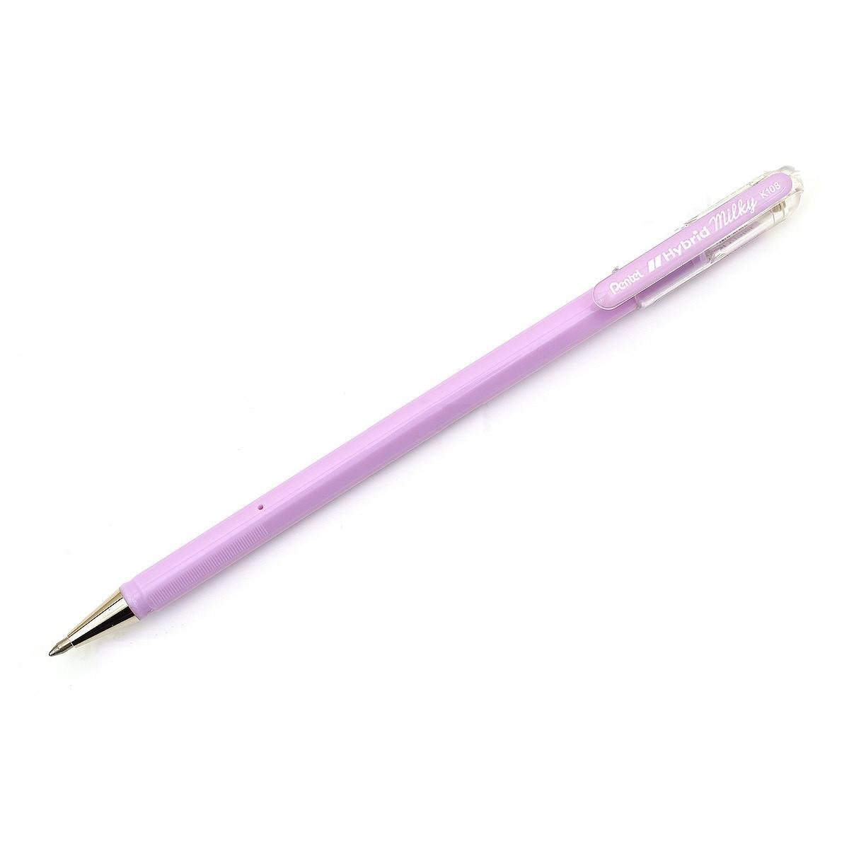 Bút Gel Sữa Dạ Quang Pentel Hybird Milky - 0.8mm - Màu tím pastel (Pastel Violet)