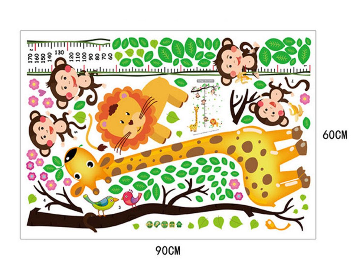 decal dán tường thước đo chiều cao hươu cao cổ và khỉ ngộ nghĩnh sk9128