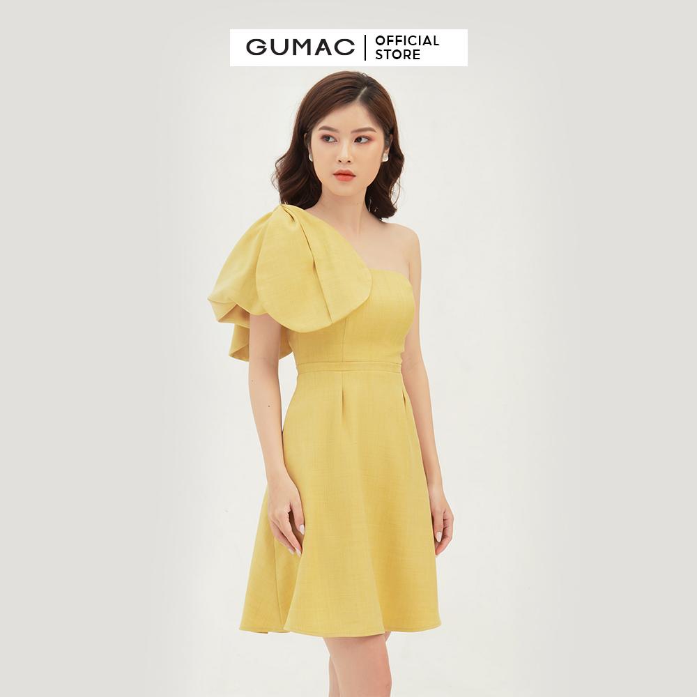 Đầm nữ dáng xòe thiết kế cúp ngực nơ vai GUMAC DB374