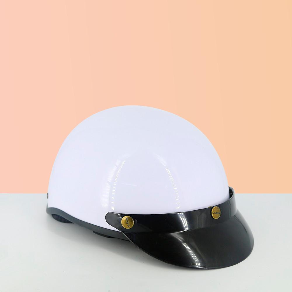 Mũ bảo hiểm nửa đầu SRT 1/2 đầu - Trắng - Kèm kính chống bụi UV400/Kính phi công - Nón bảo hiểm nửa đầu thời trang
