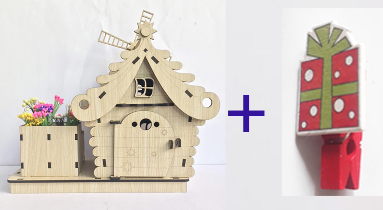 Hộp bút để bàn hình ngôi nhà trang trí, có khay để bút viết rộng rãi tặng kẹp gỗ xinh xắn dùng kẹp giấy ghi chú .
