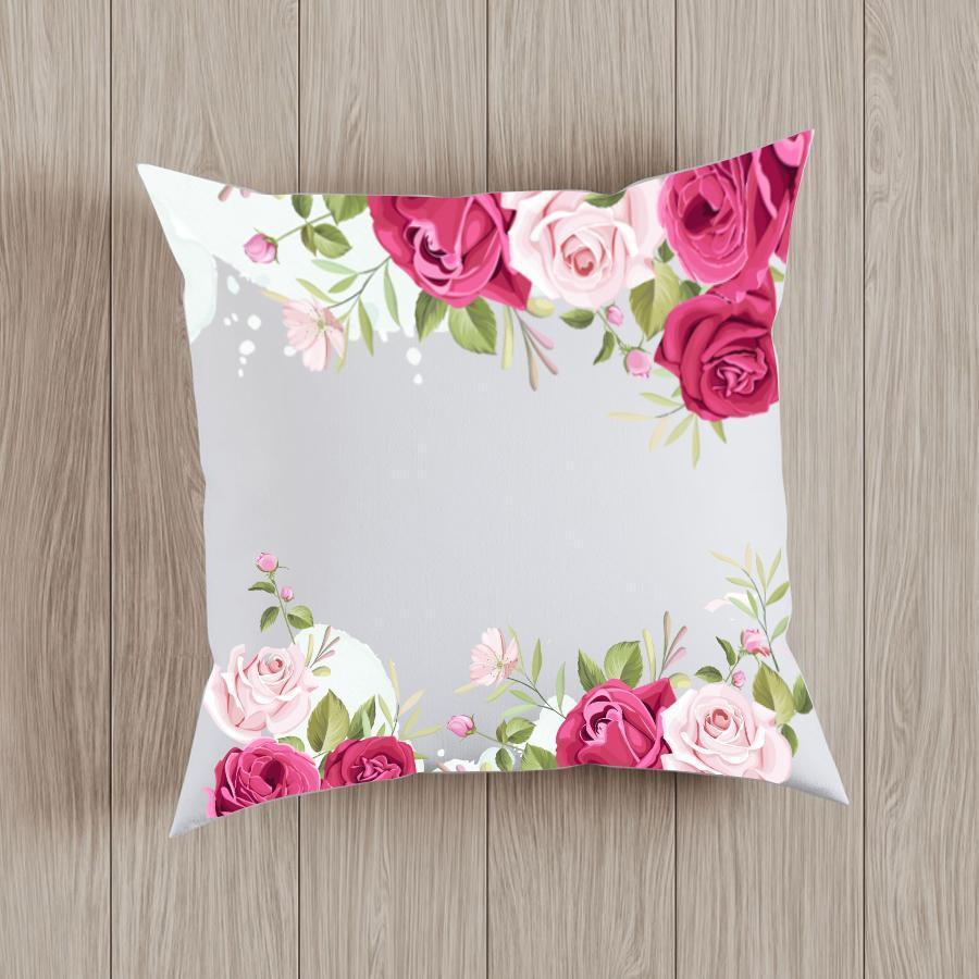 Gối tựa lưng trang trí in hình họa tiết hoa hồng G14