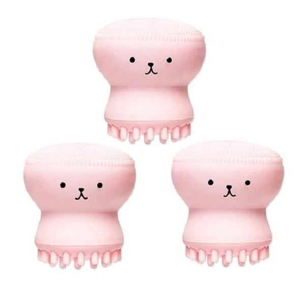 3 Cọ Rửa Mặt Bạch Tuộc Tạo Bọt Xốp Rửa Sạch Massage Lỗ Chân Lông Tẩy Tế Bào Chết