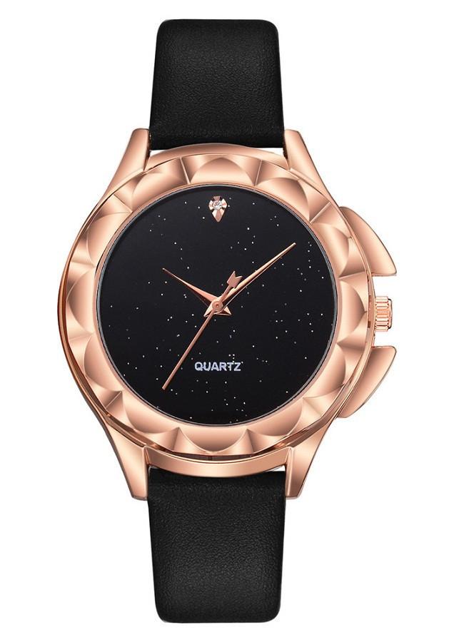 Đồng hồ nữ dây da mặt dạ quang cực xinh - Style Tinh Tế DQD01 (dây đen)