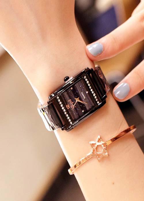 Đồng hồ nữ dây kim loại mặt vuông đính đá màu đen cá tính ĐHĐ14401