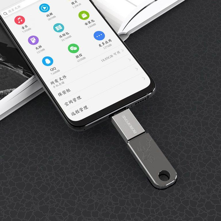 Đầu Cáp Chuyển OTG BOROFONE BV2 USB-A Sang Micro USB, USB 3.0 - Hàng Chính Hãng