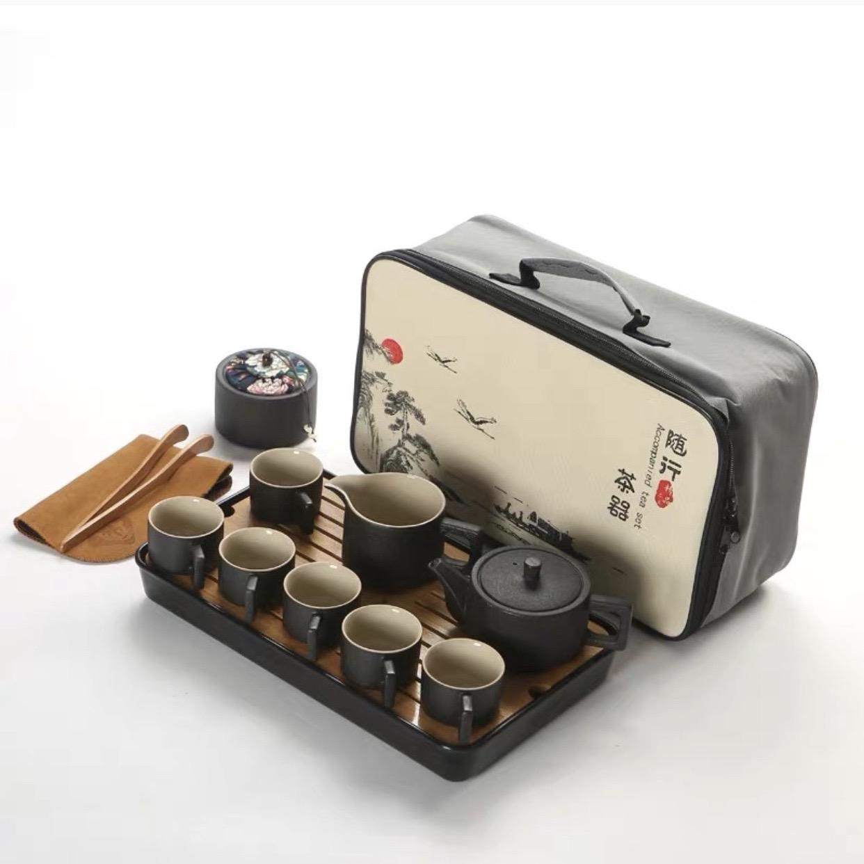 Bộ ấm pha trà đơn giản kiểu Nhật, gồm bình trà, hủ đựng trà, 6 ly trà, khay gỗ, túi xách tay