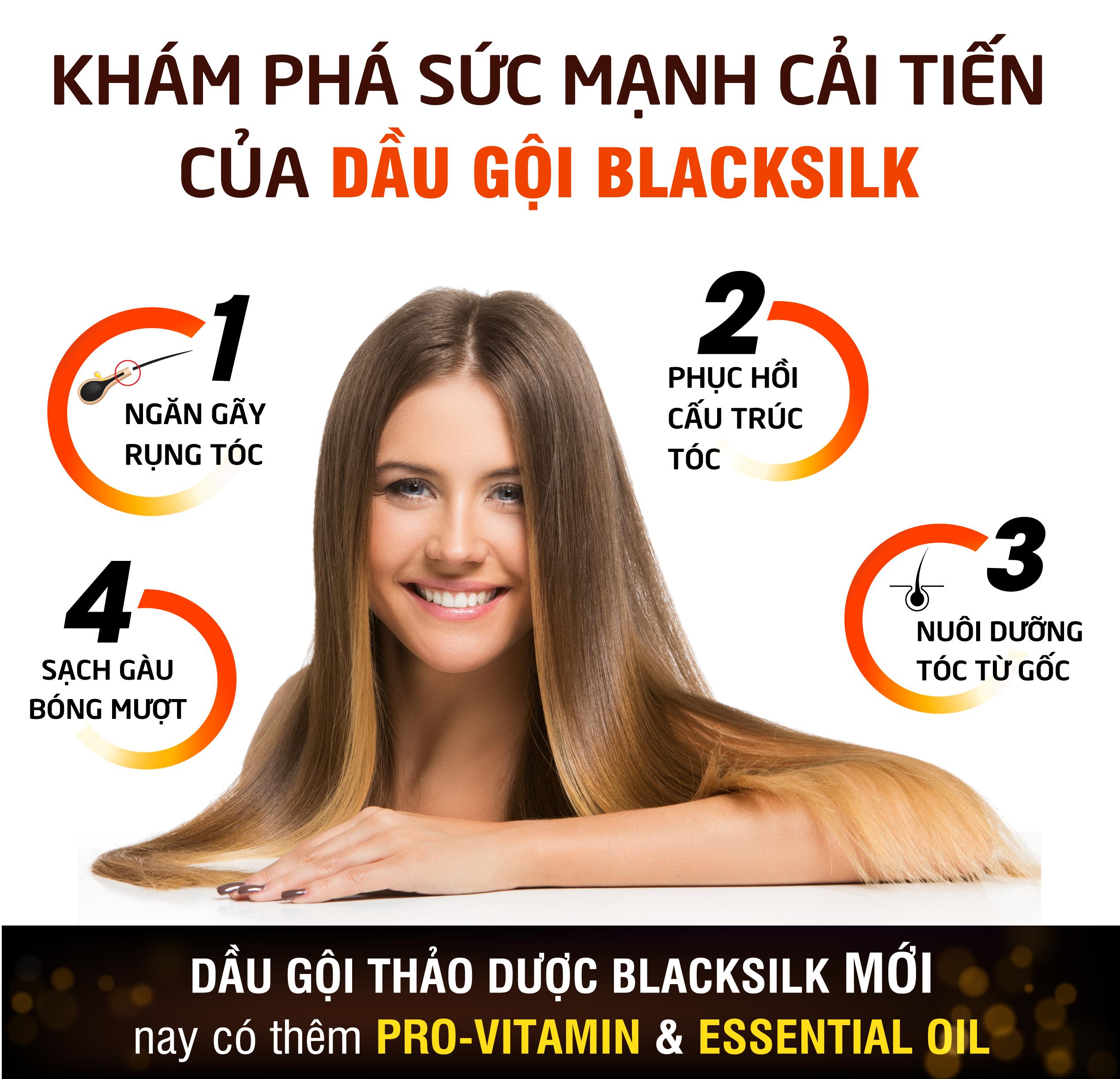 [2 chai] Dầu gội thảo dược Blacksilk - Kích mọc tóc, tái tạo nang tóc đen, giảm gãy rụng tóc, nuôi dưỡng tóc từ gốc. Sản phẩm của Vioba, chai 500ml