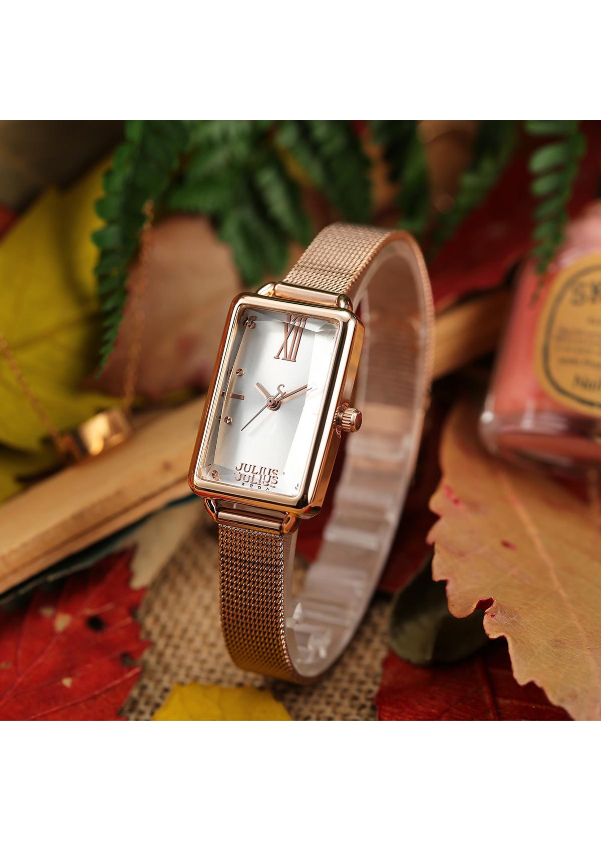 Đồng hồ nữ Hàn Quốc JULIUS JA-1215 dây thép mặt chữ nhật (nhiều màu)