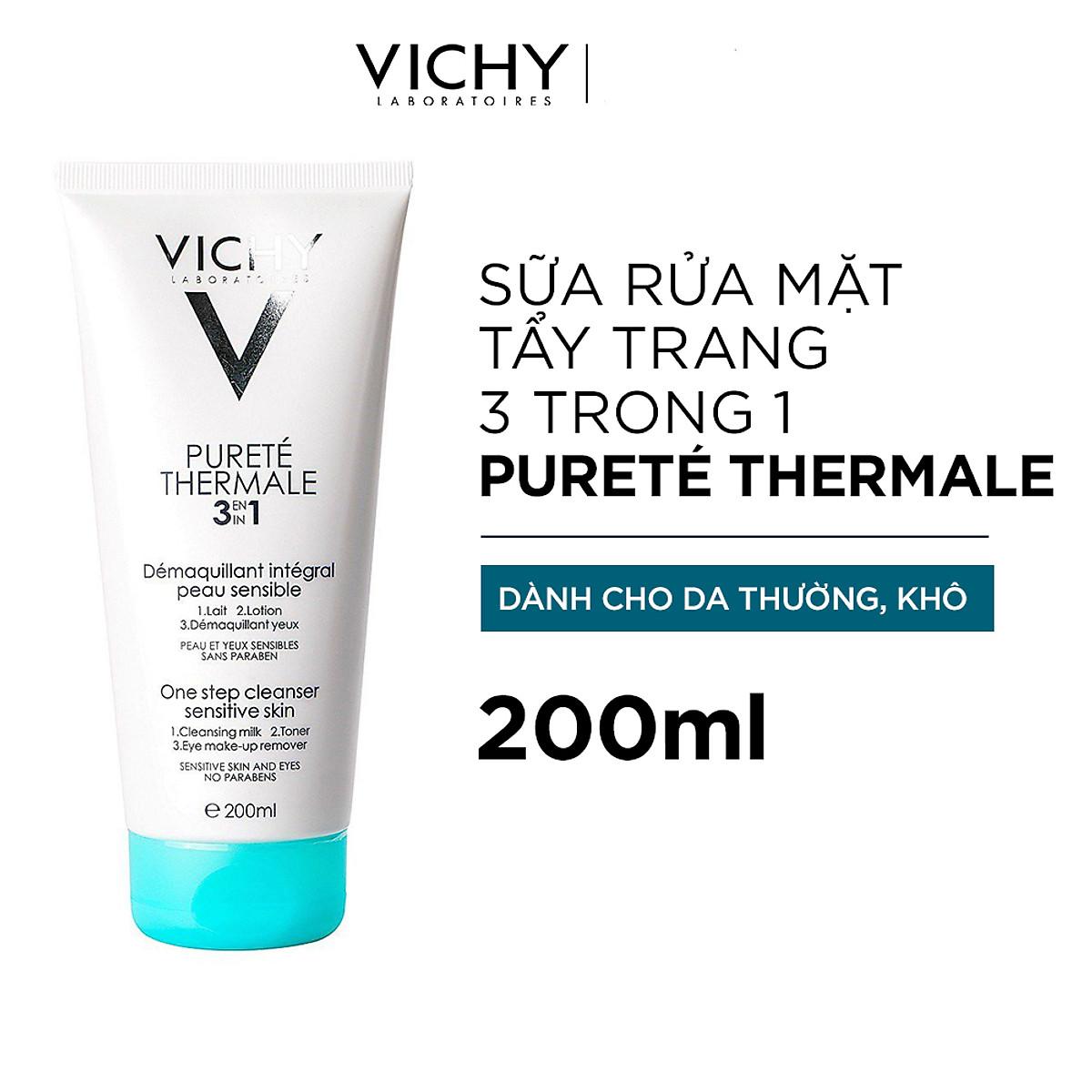 Sữa Rửa Mặt Tẩy Trang 3 Tác Dụng VICHY Purete Thermale One Step Cleanser (3 In 1) 200ml - TẶNG MÓC KHÓA