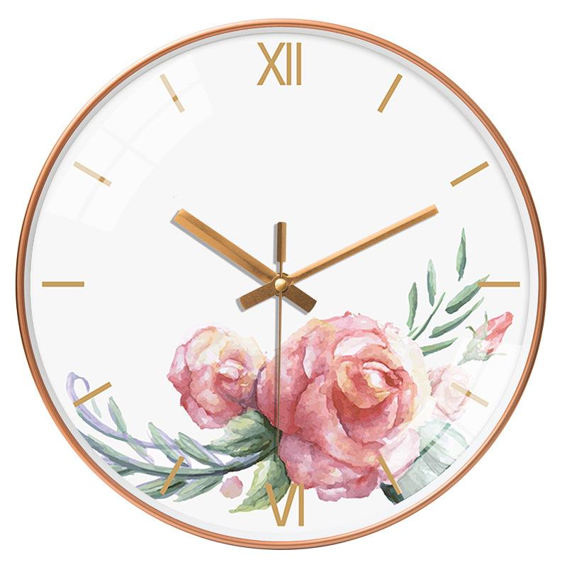 Đồng hồ treo tường tròn phong cách Bắc Âu hoa hồng màu nước loang 048 25cm