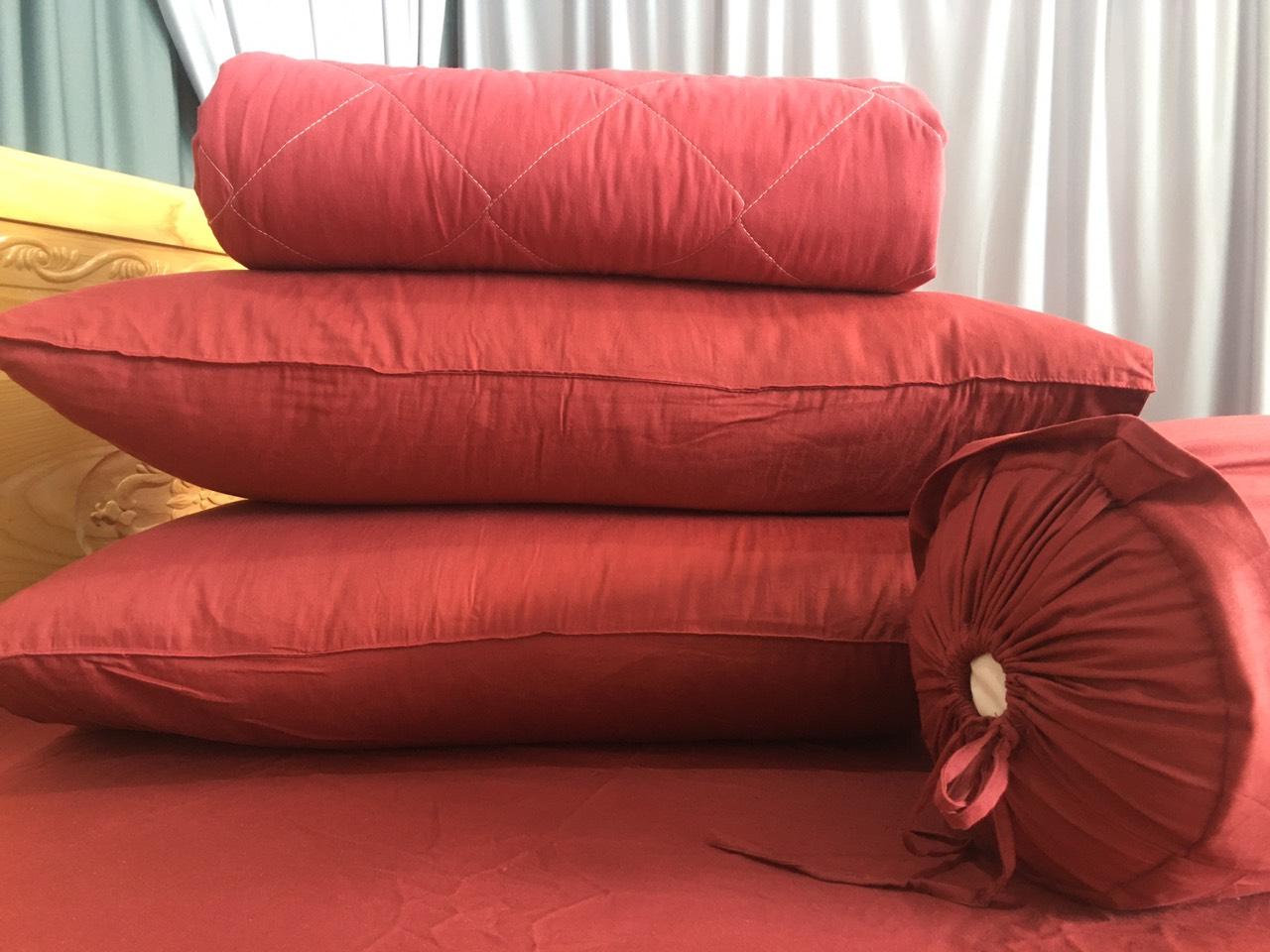 Drap Cotton Màu Trơn Sợi Cotton 100% Combo 4 Món - Màu Đỏ Đô