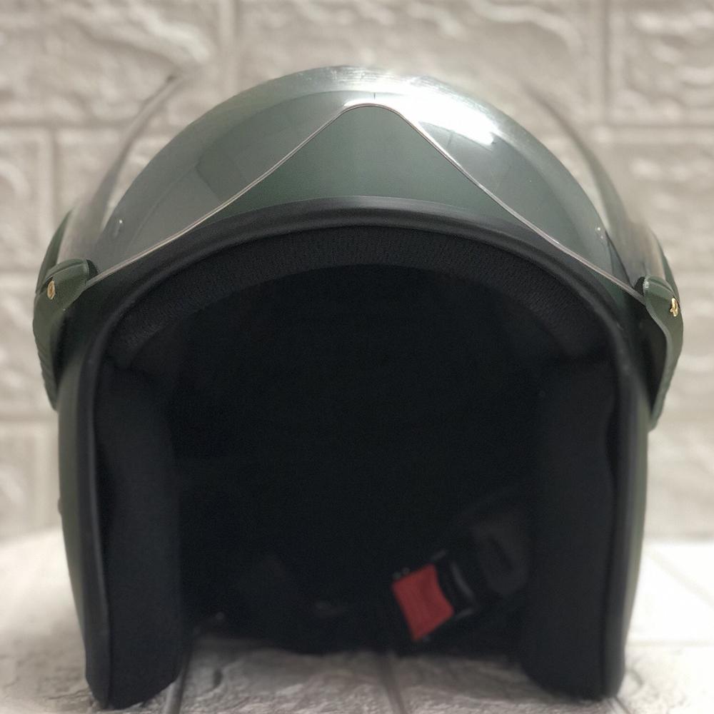 Mũ Bảo Hiểm Có Kính 3/4 Đầu N025 Bopa – Màu Xanh Lính Kính Trong _ Chống bụi, chống nắng đi được cả ban đêm