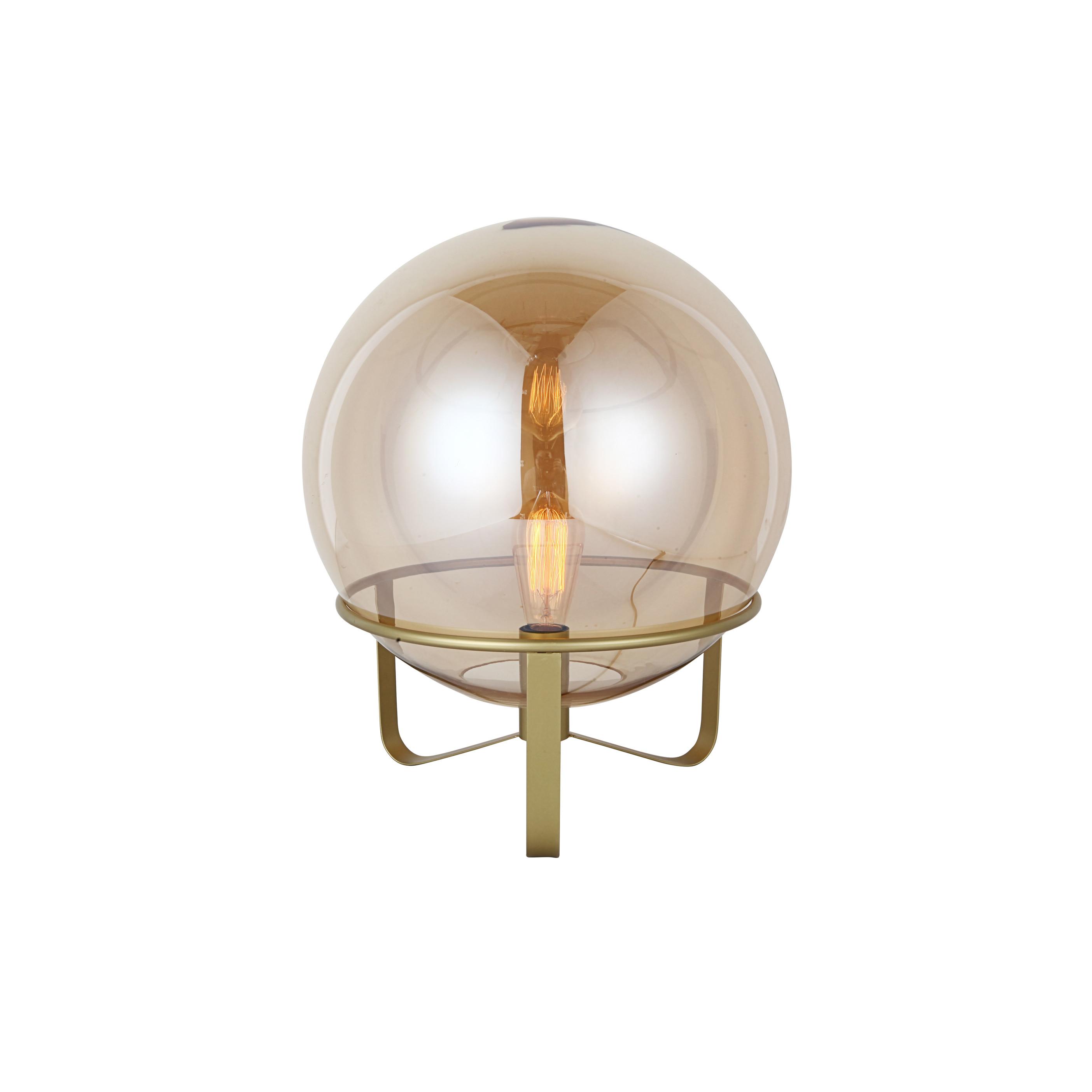 Đèn bàn JYSK Lolland sắt/thủy tinh màu vàng kèm bóng DK40x46cm