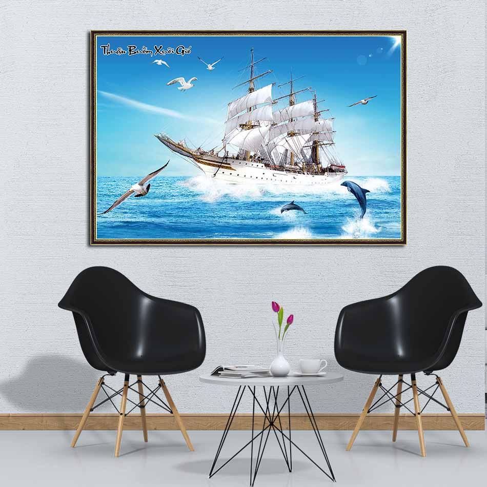 Tranh canvas phong thủy treo tường - Thuận buồm xuôi gió - TBXG008 - Khung hoa văn viền mỏng - 120x80cm
